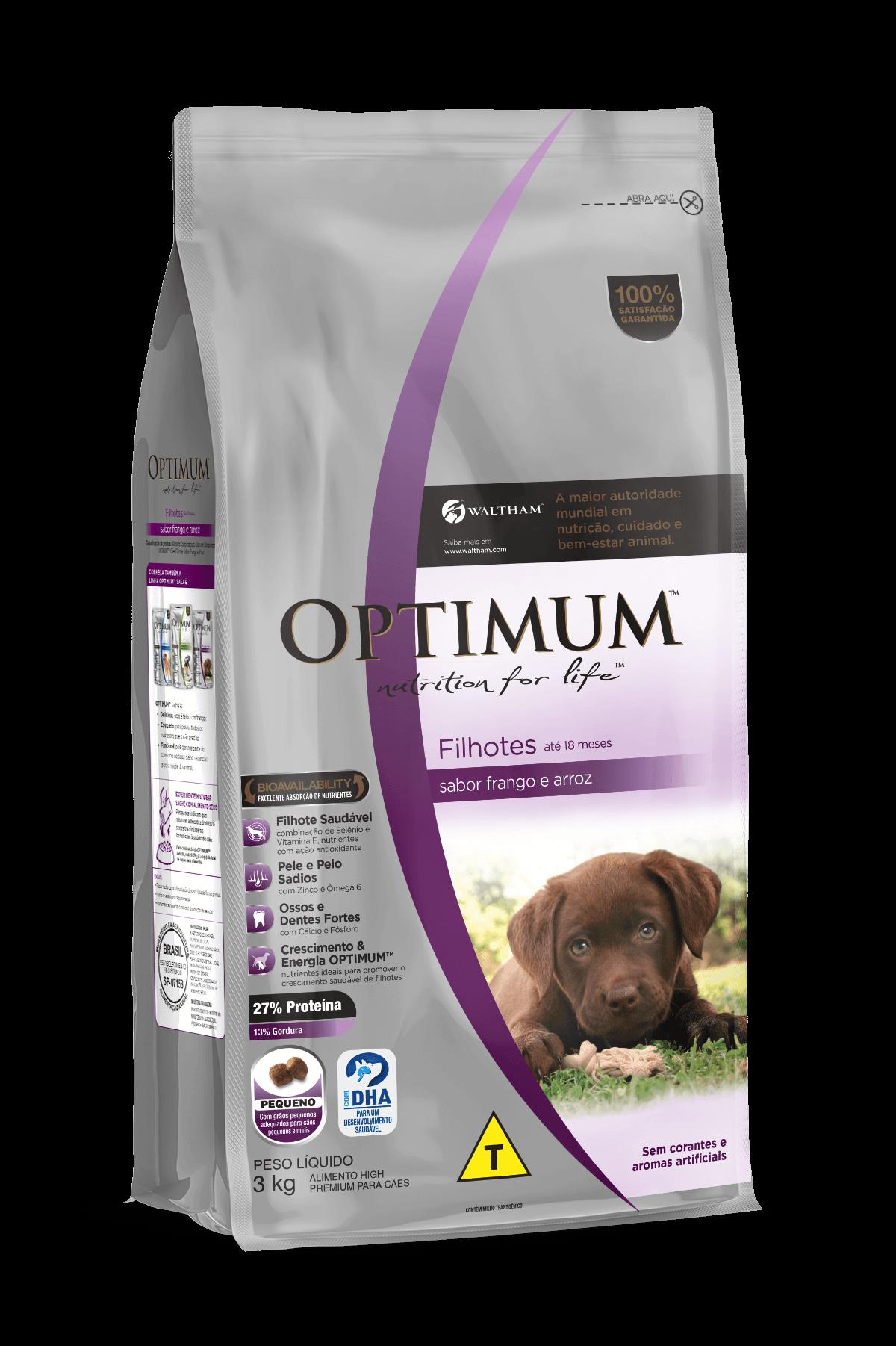Ração cachorros Optimum Cães Filhotes Frango com 3 kg